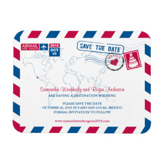 Cabo San Lucas Mexico Airmail | Save the Date 3x4 Rectangle Magnet