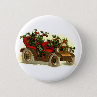 Cabriolet Filled With Holly Vintage Christmas 6 Cm Round Badge
