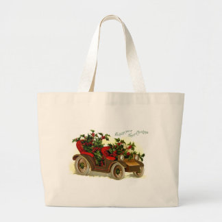Cabriolet Filled With Holly Vintage Christmas Jumbo Tote Bag