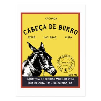 Cachaça Donkey Head label Postcard