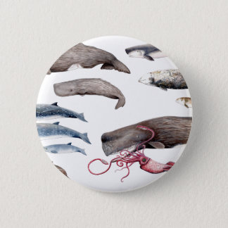 Cachalote and zifios: Whales of the depths 6 Cm Round Badge