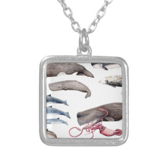 Cachalote and zifios: Whales of the depths Silver Plated Necklace