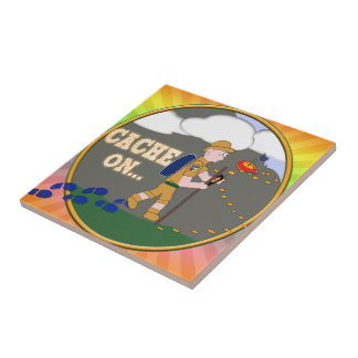 CACHE ON! GEOCACHING DUDE TILE