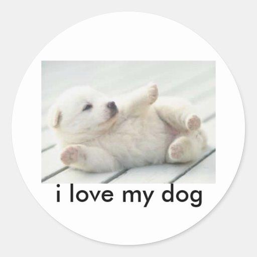 cachorros, i love my dog round stickers
