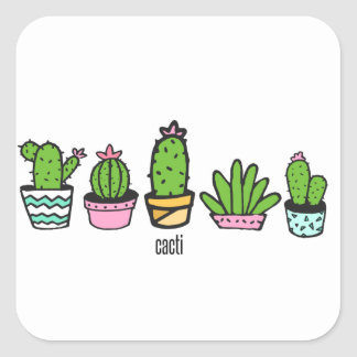 cacti grouping square sticker