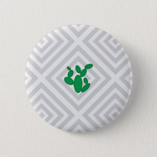Cactus - Abstract geometric pattern - grey. 6 Cm Round Badge