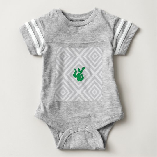 Cactus - Abstract geometric pattern - grey. Baby Bodysuit