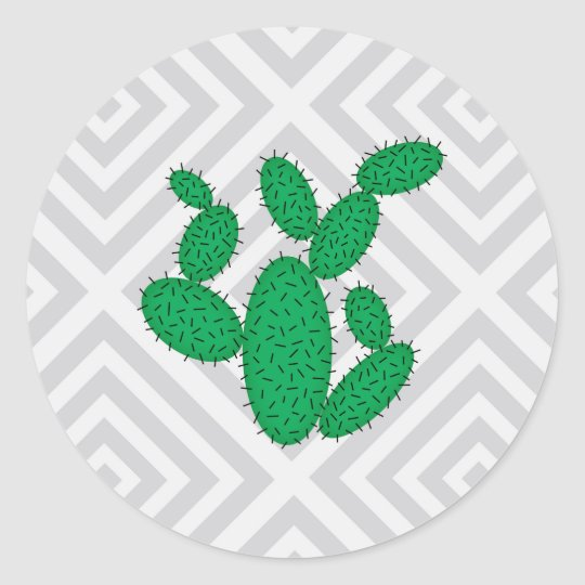 Cactus - Abstract geometric pattern - grey. Classic Round Sticker