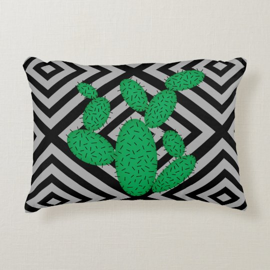 Cactus - Abstract geometric pattern - grey. Decorative Cushion