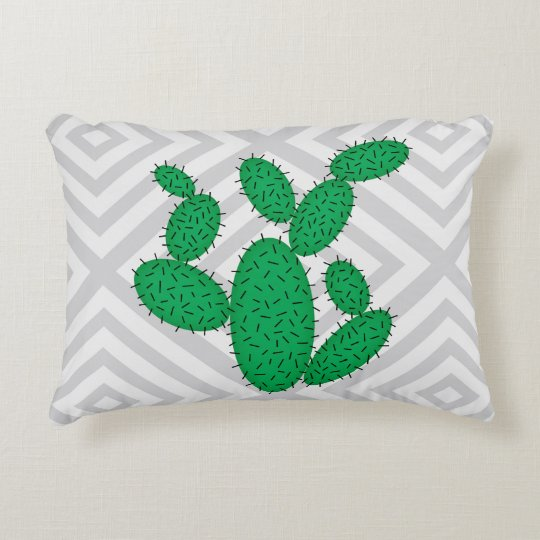 Cactus - Abstract geometric pattern - grey. Decorative Cushion