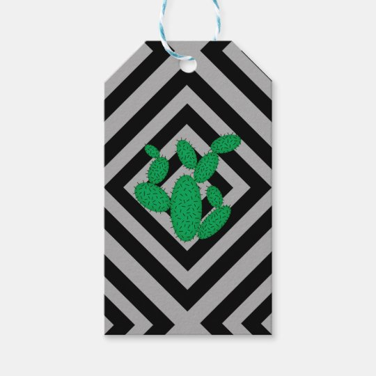 Cactus - Abstract geometric pattern - grey. Gift Tags