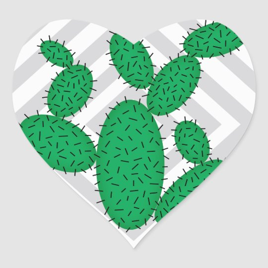 Cactus - Abstract geometric pattern - grey. Heart Sticker
