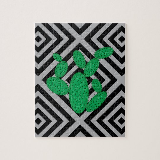 Cactus - Abstract geometric pattern - grey. Jigsaw Puzzle