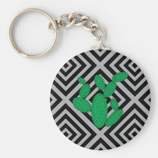 Cactus - Abstract geometric pattern - grey. Key Ring