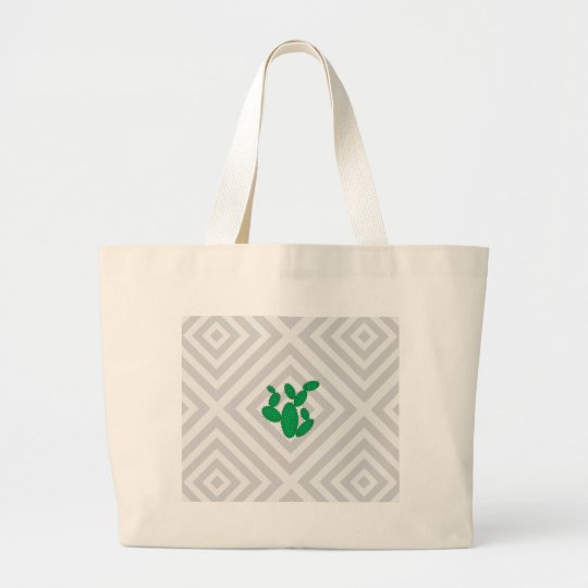 Cactus - Abstract geometric pattern - grey. Large Tote Bag