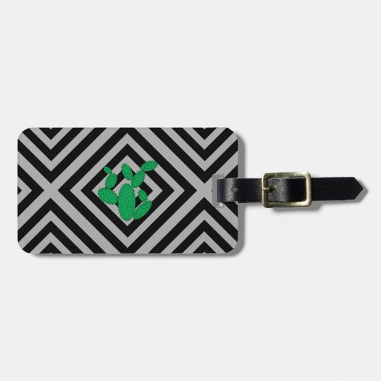Cactus - Abstract geometric pattern - grey. Luggage Tag
