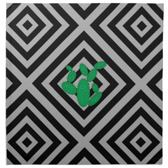 Cactus - Abstract geometric pattern - grey. Napkin