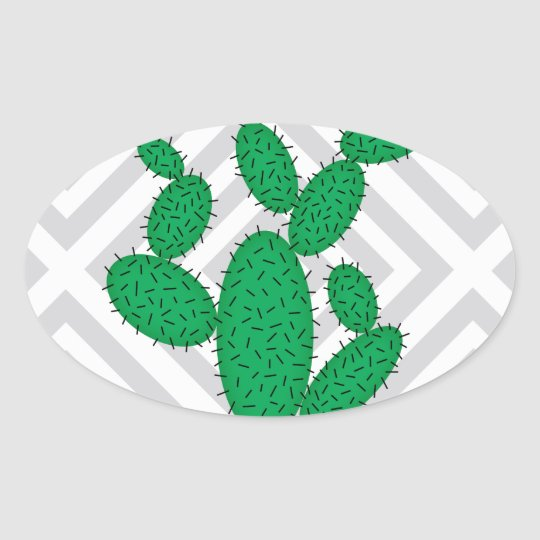 Cactus - Abstract geometric pattern - grey. Oval Sticker