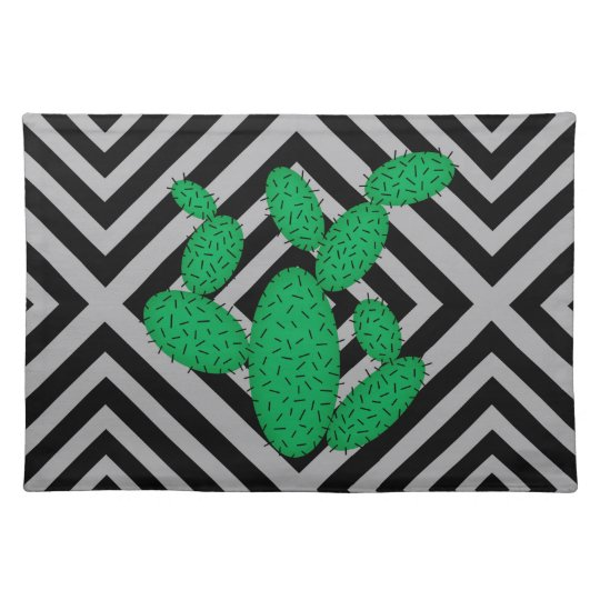 Cactus - Abstract geometric pattern - grey. Placemat