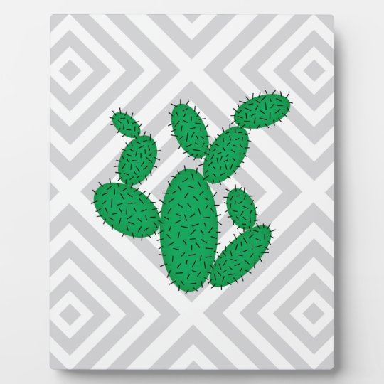 Cactus - Abstract geometric pattern - grey. Plaque