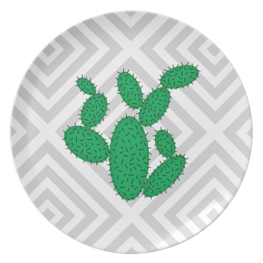 Cactus - Abstract geometric pattern - grey. Plate