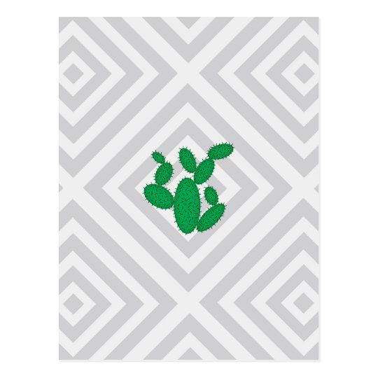 Cactus - Abstract geometric pattern - grey. Postcard