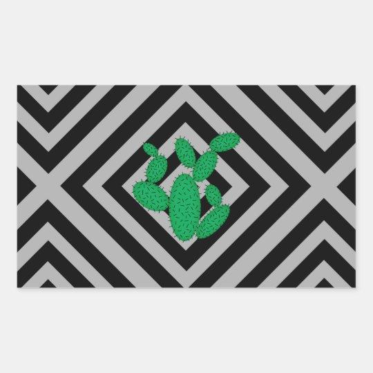 Cactus - Abstract geometric pattern - grey. Rectangular Sticker