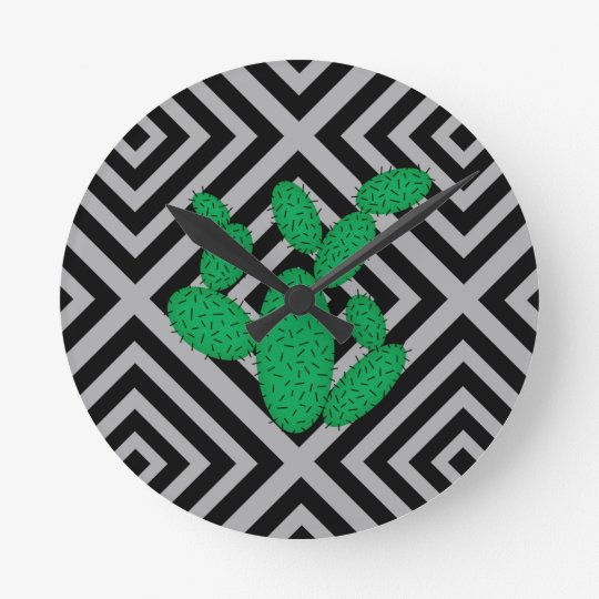 Cactus - Abstract geometric pattern - grey. Round Clock