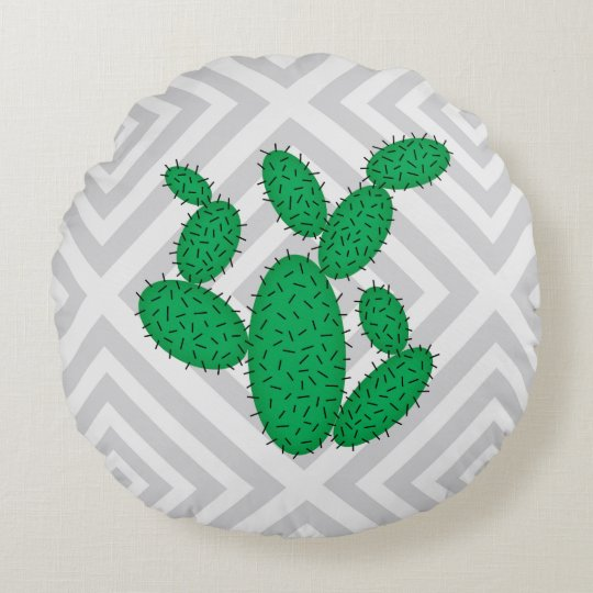 Cactus - Abstract geometric pattern - grey. Round Cushion