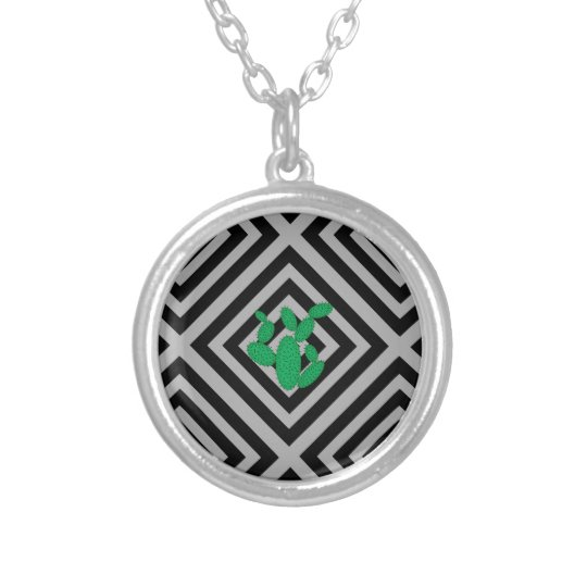 Cactus - Abstract geometric pattern - grey. Silver Plated Necklace