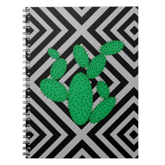 Cactus - Abstract geometric pattern - grey. Spiral Notebook