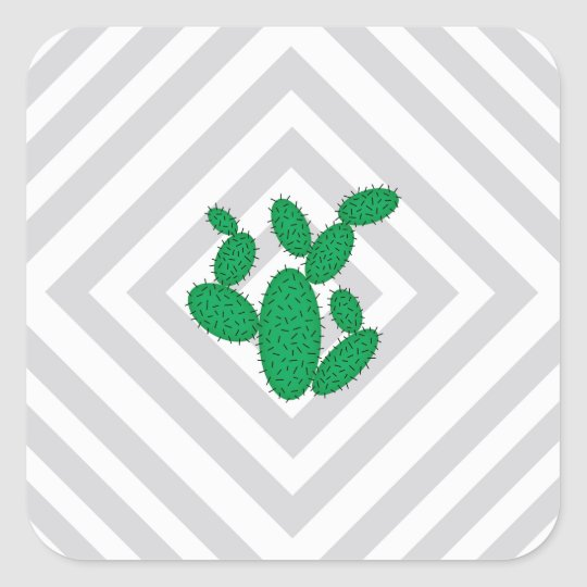 Cactus - Abstract geometric pattern - grey. Square Sticker