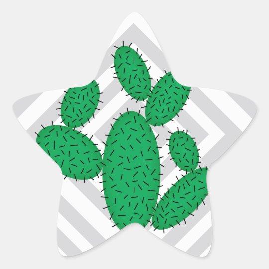 Cactus - Abstract geometric pattern - grey. Star Sticker