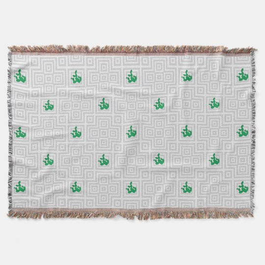 Cactus - Abstract geometric pattern - grey. Throw Blanket