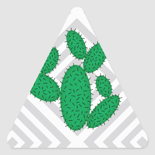 Cactus - Abstract geometric pattern - grey. Triangle Sticker
