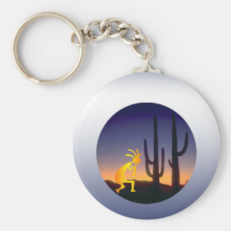 Cactus and Kokopelli Round Key Ring
