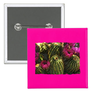 Cactus and Pink Flowers in Rough Pastels Pins