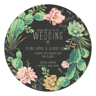 Cactus and Succulent Invitations, Wreath Wedding Card