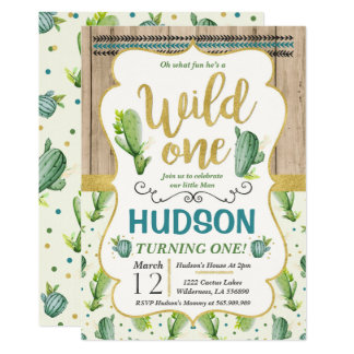 Cactus Birthday Invitation Wild One Invitation