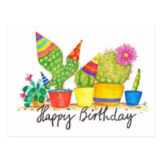 Cactus Birthday postcard by Nicole Janes