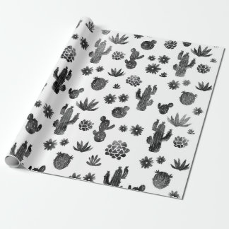 Cactus Black and White Wrapping Paper