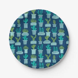 Cactus Blue Terrarium Succulent / Andrea Lauren 7 Inch Paper Plate