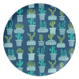 Cactus Blue Terrarium Succulent / Andrea Lauren Plates