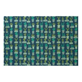Cactus Blue Terrarium Succulent / Andrea Lauren Wood Canvas