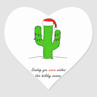 Cactus Christmas Heart Sticker