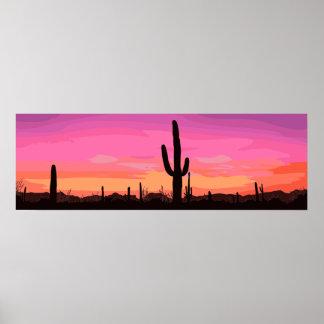 Cactus Desert Sunset Travel Poster