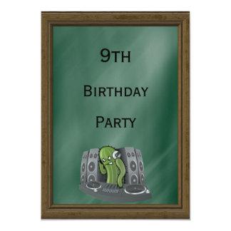 Cactus DJ 9th Birthday 13 Cm X 18 Cm Invitation Card