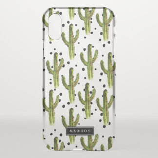 Cactus & Dots Pattern Personalized iPhone X Case