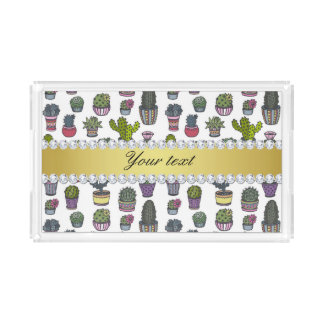 Cactus Faux Gold Bling Diamonds Acrylic Tray