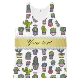 Cactus Faux Gold Bling Diamonds All-Over Print Singlet